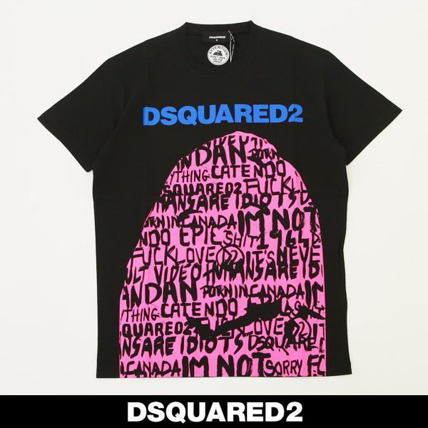 Dsquared(ディースクエアード)ロゴプリント半袖TシャツブラックS74GD0492