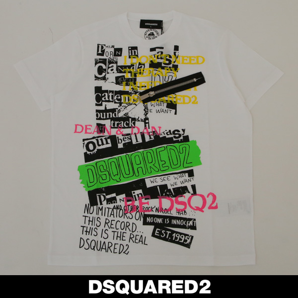 Dsquared(ディースクエアード)ロゴプリント半袖TシャツホワイトS74GD0469