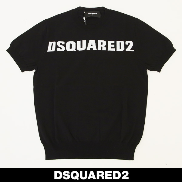 Dsquared(ディースクエアード)ロゴ半袖サマーセーターブラック×ホワイトS71HA0902
