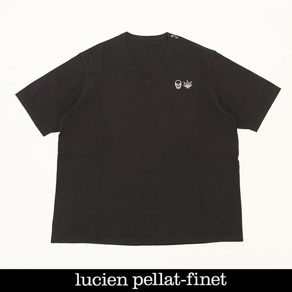 Lucien Pellat-finet(ルシアンペラフィネ)ワンポイントコットンVネック半袖セーターブラック213 76310