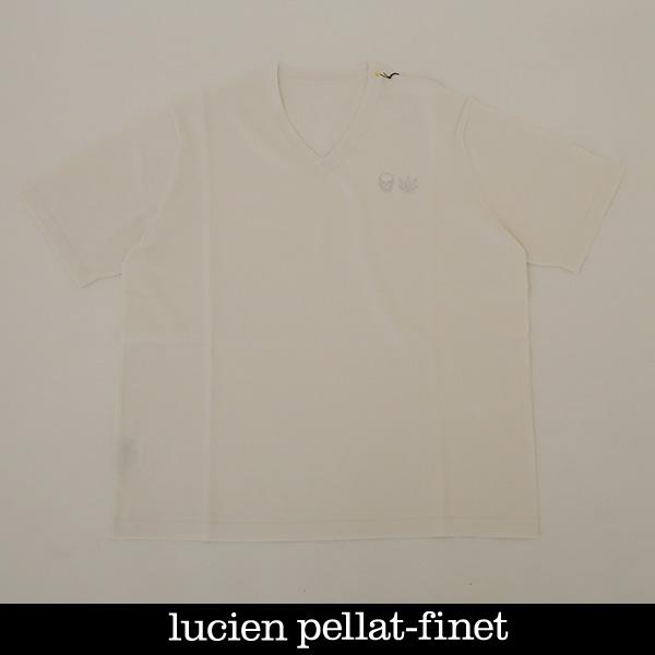 Lucien Pellat-finet(ルシアンペラフィネ)ワンポイントコットンVネック半袖セーターホワイト213 76310