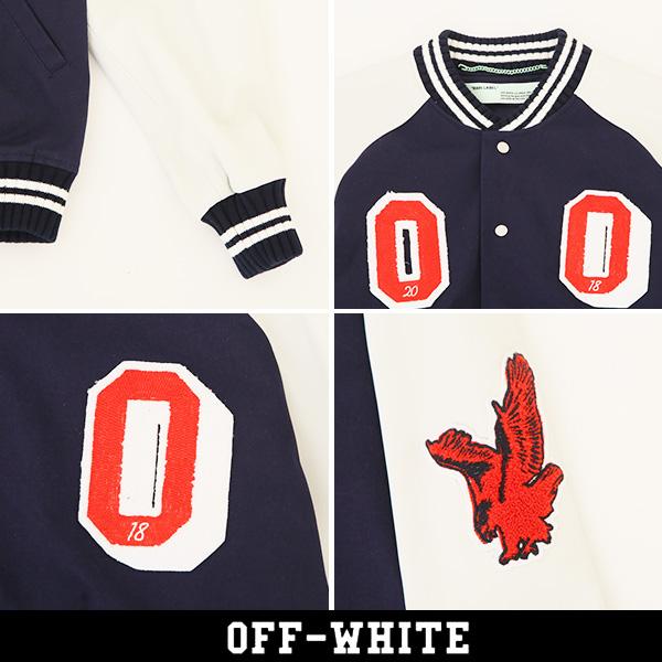 OFF-WHITE(オフホワイト)【メンズウェア】スタジアムジャンバーネイビー×ホワイト0MEA0578181350213088