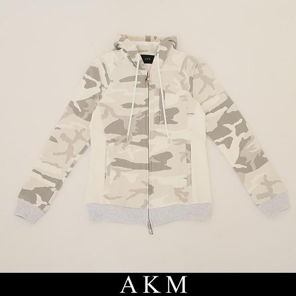 AKM(エイケイエム)ジップアップパーカーFULL ZIP PARKAホワイト系(カモフラ柄)8313 CNU133 A10