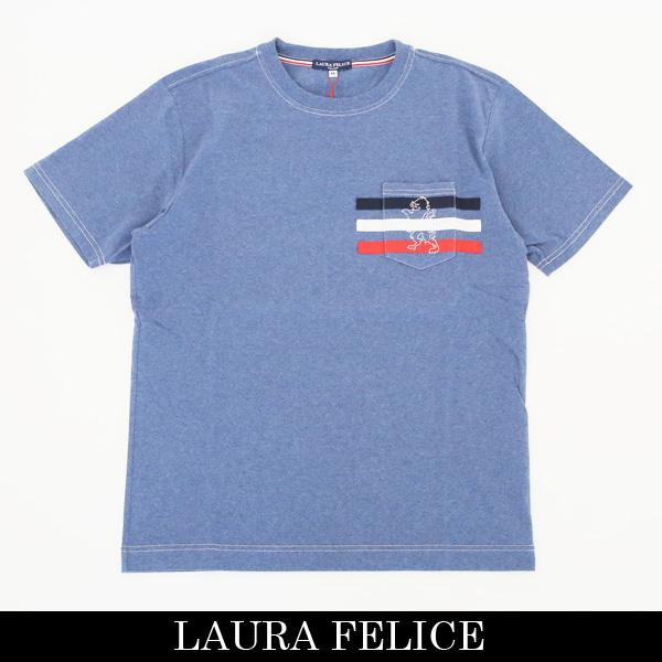 LauraFelice(ラウラ・フェリーチェ)半袖Tシャツインディゴ系132 5504 24