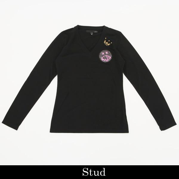 STUD MUFFIN(スタッドマフィン)レディースロングTシャツブラック911 02050
