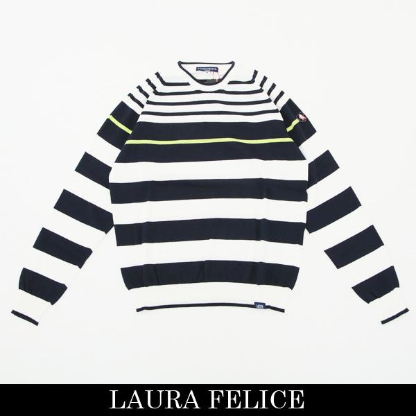 LauraFelice(ラウラ・フェリーチェ)セーターホワイト×ネイビー132 7002 12