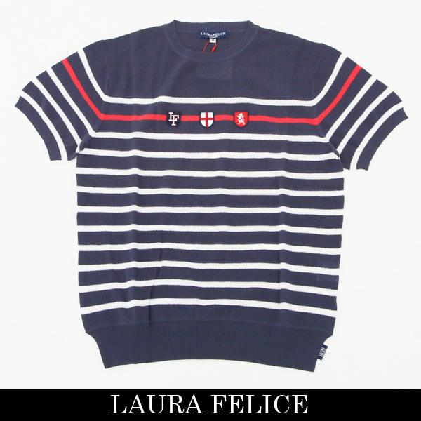 LauraFelice(ラウラ・フェリーチェ)半袖Tシャツネイビー×ホワイト132 7502 27