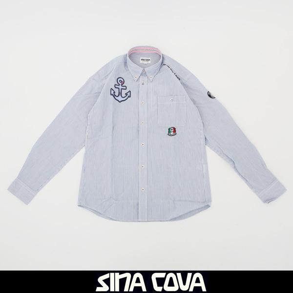 大人気SINA COVA(シナコバ)長袖ボタンダウンシャツサックス系77114010 020