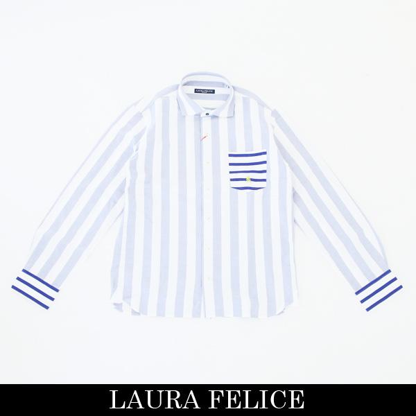 LauraFelice(ラウラ・フェリーチェ)長袖カジュアルシャツホワイト×サックス132 3111 22