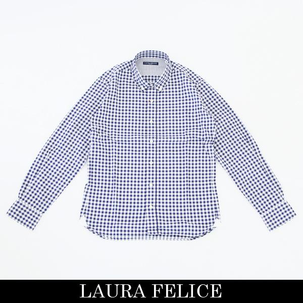 LauraFelice(ラウラ・フェリーチェ)長袖カジュアルシャツホワイト×ネイビー132 3114 26