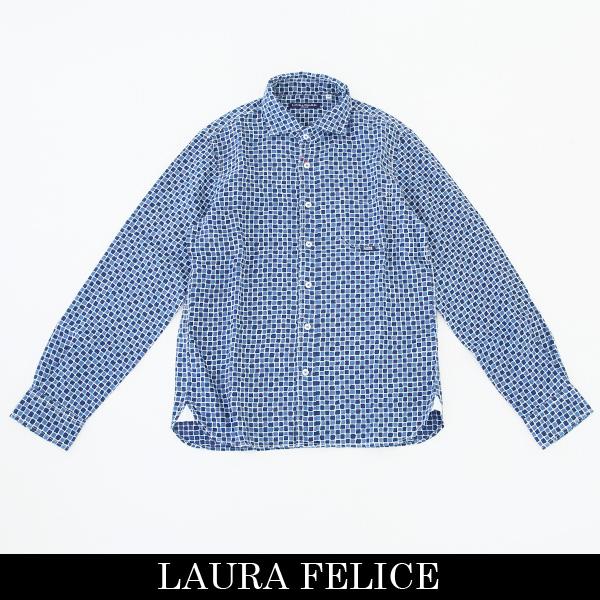 LauraFelice(ラウラ・フェリーチェ)長袖カジュアルシャツネイビー系132 3104 24