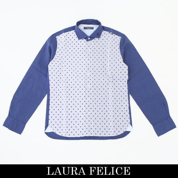 LauraFelice(ラウラ・フェリーチェ)長袖カジュアルシャツネイビー系132 3116 26