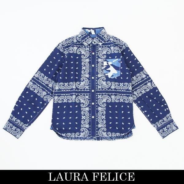 LauraFelice(ラウラ・フェリーチェ)長袖カジュアルシャツインディゴ(ペイズリー柄)132 3103 27