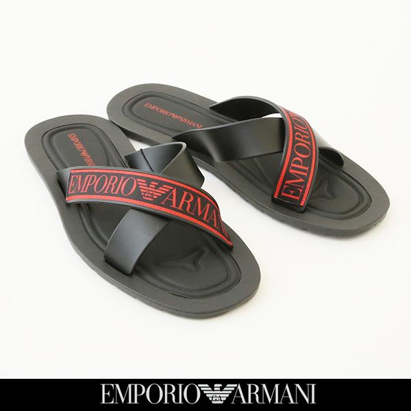 EMPORIO ARMANI(エンポリオアルマーニ)フラットサンダルブラック×レッドX4P079 XL293