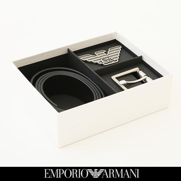 EMPORIO ARMANI(エンポリオアルマーニ)バックルリバーシブルレザーベルトネイビー×ブラックY4S270 YLP4X