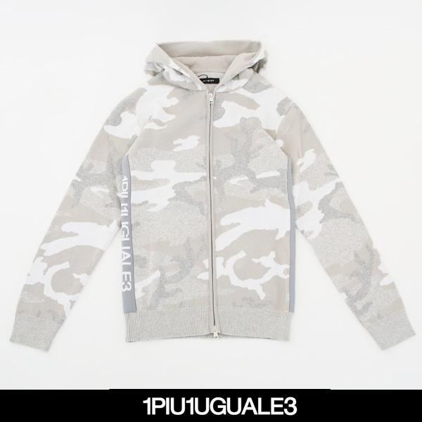 1PIU1UGUALE3(ウノピゥウノウグァーレトレ)ZIP PARKAオフホワイト×グレー×ベージュ(カモフラ柄)MRK170 COT248 A10