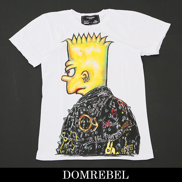 DOMREBEL(ドムレーベル)【メンズウェア】スワロフスキー仕様半袖TシャツホワイトDUDE