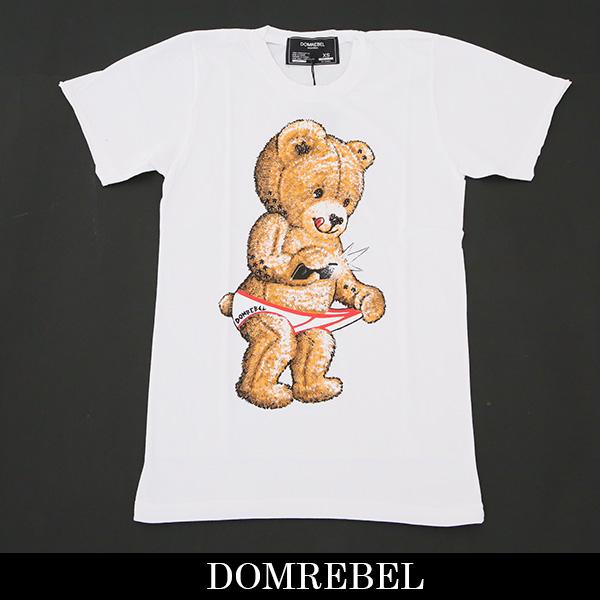 DOMREBEL(ドムレーベル)【メンズウェア】スワロフスキー仕様半袖TシャツホワイトSNAP