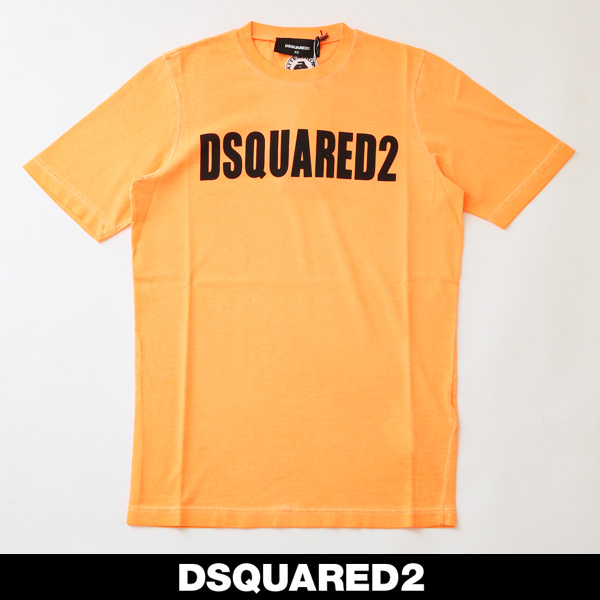 Dsqared(ディースクエアード)レディースロゴ半袖TシャツオレンジS72GD0147