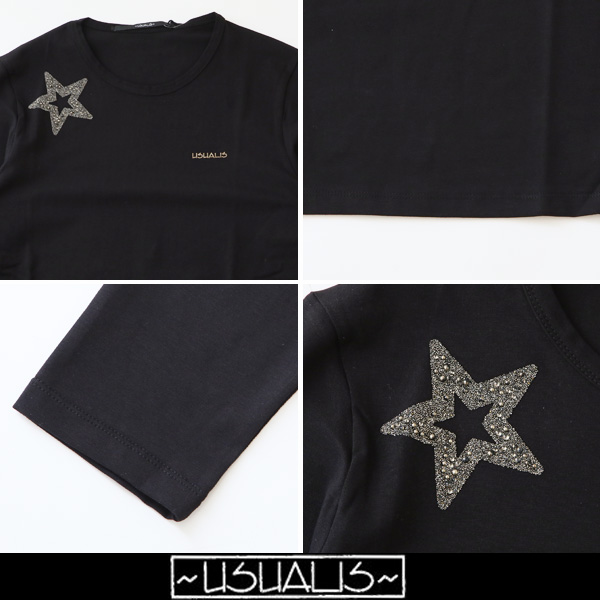 USUALIS(ウザリス)ロングTシャツブラックU6790M(US190 4471)