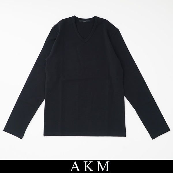AKM(エイケイエム)VネックロングTシャツ長袖TシャツブラックT148 AR014【AKM L/S V-NECK】
