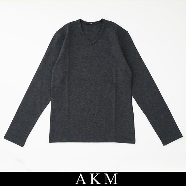 AKM(エイケイエム)VネックロングTシャツ長袖TシャツチャコールグレーT148 AR014【AKM L/S V-NECK】