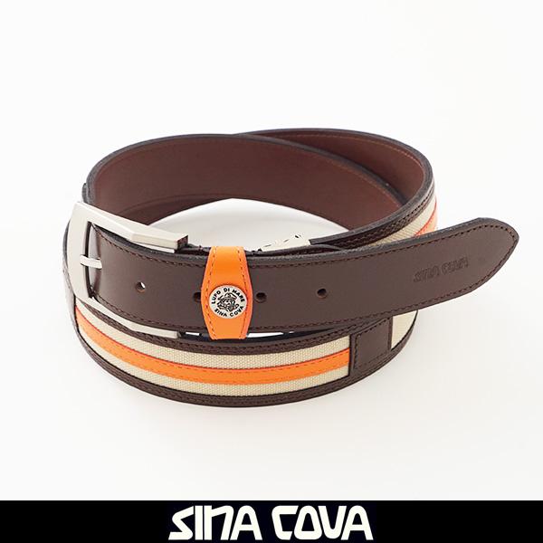 SINA COVA(シナコバ)レザーベルトブラウン×オレンジ×ベージュ19276040 950