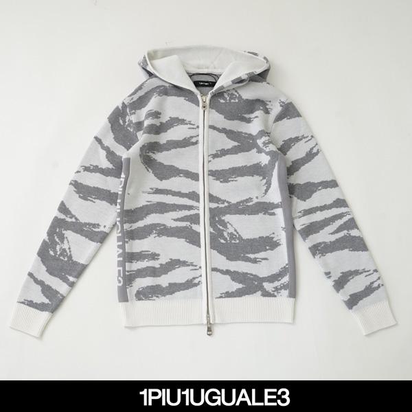 1PIU1UGUALE3(ウノピゥウノウグァーレトレ)ZIP PARKAオフホワイト×グレー(カモフラ柄)MRK191 WOL093 M10