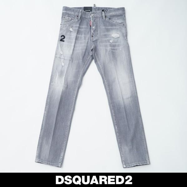 DSQUARED2(ディースクエアード)ダメージ加工ジーンズ/COOL GUY JEANグレーS74LB0693
