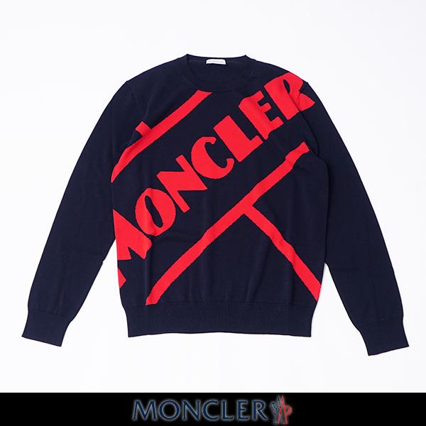 MONCLER モンクレールクルーネックセーターネイビー×レッドメンズウェアーF1 091 9C70300 V9085 742