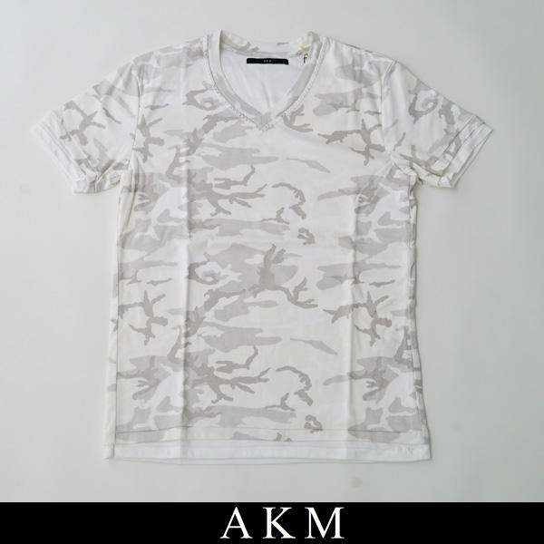 AKM(エイケイエム)VネックTシャツHAND STITCH V-NECKホワイト系(カモフラ柄)T186 CTM215