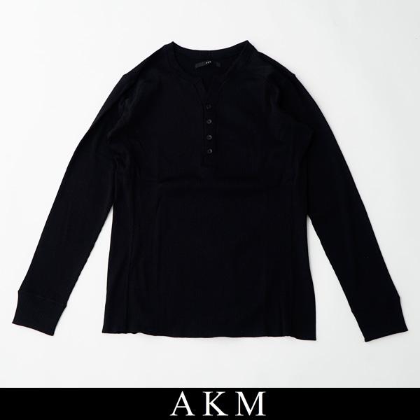 AKM(エイケイエム)ヘンリーネックロングTシャツ長袖TシャツL/S henry LEONブラックT182 CNP060