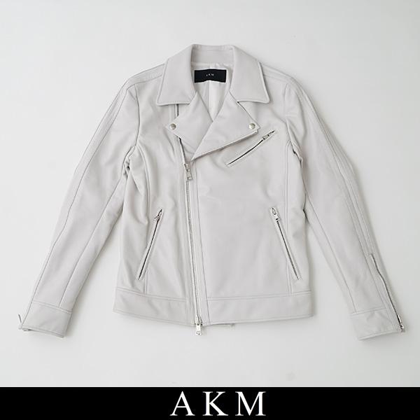 AKM(エイケイエム)W-RIDERSライダースジャケットオフホワイトB344 LMB001