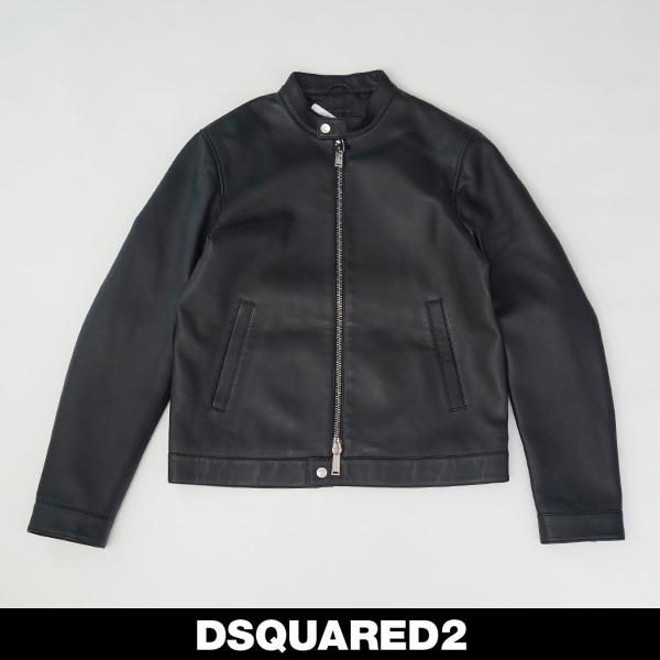 Dsqared(ディースクエアード)レザージャンバーブラックS74AM1095 SY1491 900