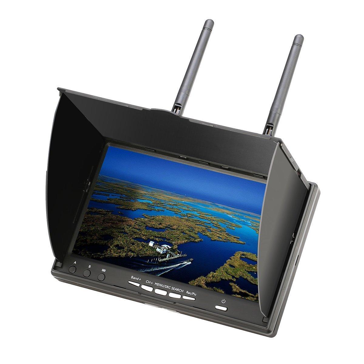 7インチFPVモニター DVR micSDカードで録画可能 バッテリー内蔵 40CH 5.8G デュアルレシーバー受信 PSEマーク電源アダプター付きTaiSeiTS TS219