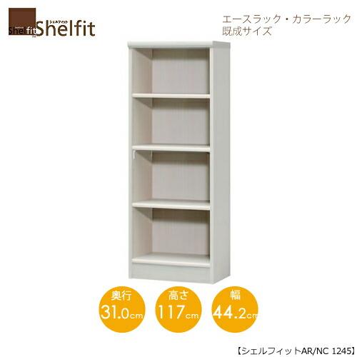 エースラック/カラーラック AR/NC 1245 〔高さ117・幅44.2・奥行31(cm)〕【シェルフィット】【収納】【棚】【本棚】【5色】【組み立て家具】【大洋】