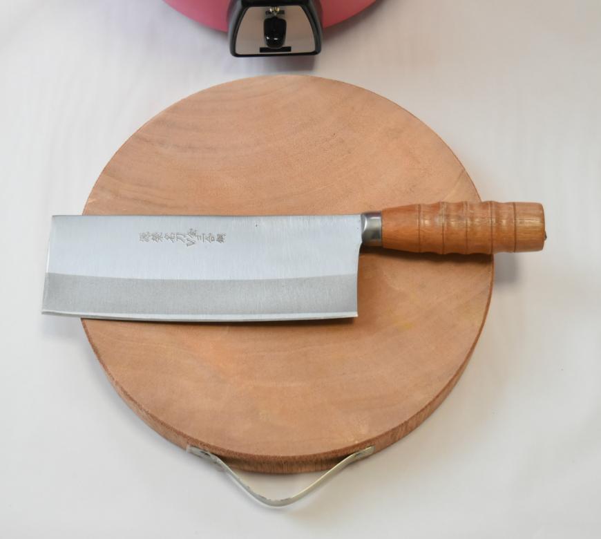 丸形木製まな板と中華包丁セット
