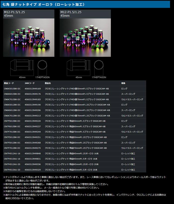 20Pセット P1.25 50mm / セドリック/ (×5set) 【デジキャン DIGICAM】 1台分 品番:CN7F5012BK-DC クロモリナット 等にお勧め ロング 7角袋ナット 型式等:Y33 (ブラック) グロリア