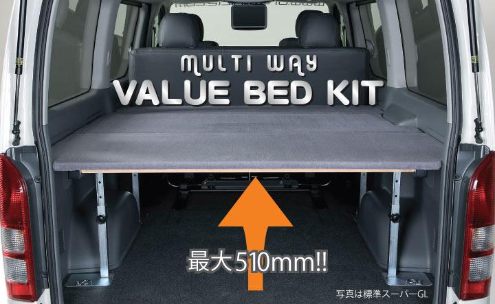 【ユーアイビークル UI vehicle】ハイエース 等にお勧め マルチウェイバリューベッドキット 型式等:200系(標準ボディー)