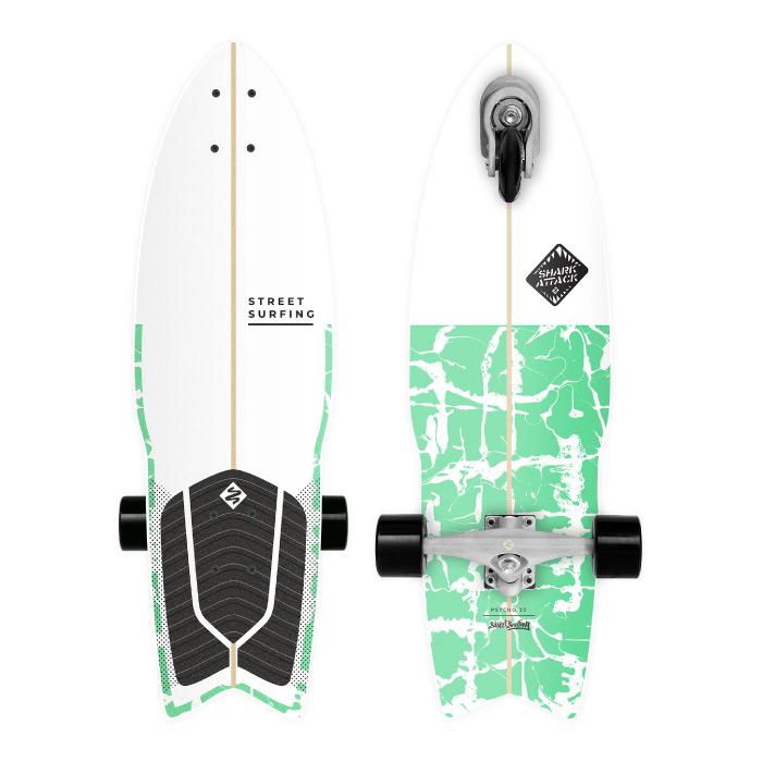 Street Surfing ストリートサーフィング SHARK ATTACK シャークアタック 30インチ PSYCHO GREEN スケートボード サーフスケート 3輪 トライウィール