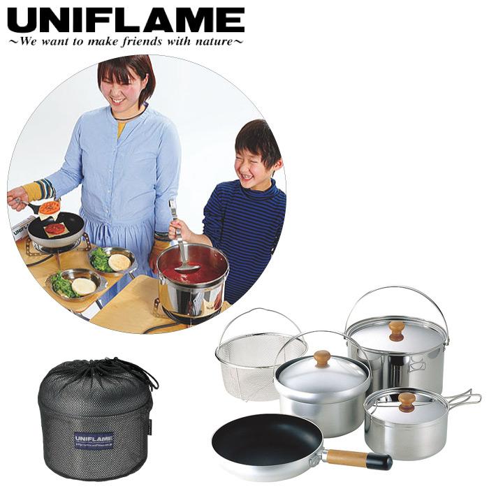 UNIFLAME ユニフレーム fan5 DX クッカーセット ライスクッカー フライパン 大鍋 片手鍋 ざる 収納ケース付き 660232
