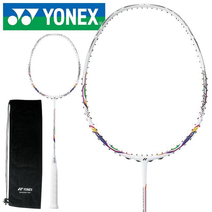 YONEX ヨネックス ナノレイ450ライト バドミントンラケット ユニセックス 初級者・中級者向け ケース付き ガット別売り ガット張り上げ代無料 ホワイト/ネイビー NR450LT