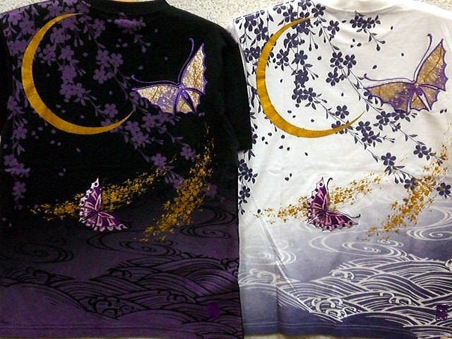 カラクリ魂 和柄 半袖Tシャツ夜紫蝶刺繍 KARAKURI【コンビニ受取対応商品】