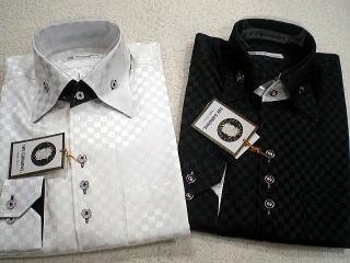 サテンシャツ ブロックチェック柄