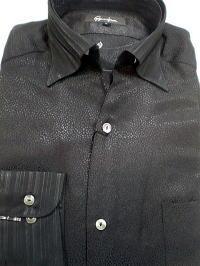 日本製  イタリアンカラー ジャガード ドレスシャツ 衿カフス切替 【楽ギフ_のし】