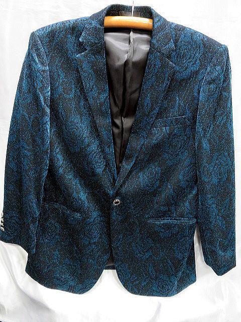 ステージ カラージャケット  サテン織 薔薇柄 カラオケ 舞台衣装