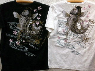 絡繰魂 カラクリ魂 和柄 パイルジャガード半袖Tシャツ 扇鯉刺繍 KARAKURI 【楽ギフ_のし】