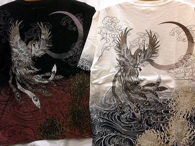 華鳥風月 和柄 半袖Tシャツ 鳳凰刺繍【コンビニ受取対応商品】