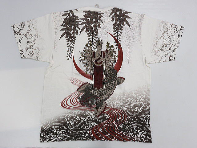 華鳥風月 和柄 半袖Tシャツ 千手観音・鯉刺繍