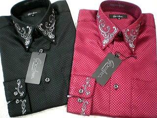 サテンドレスシャツ ラインストーン刺繍 日本製